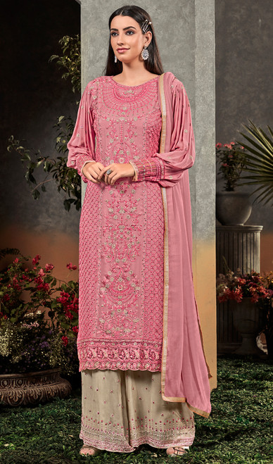Pink Color Georgette Embroidered Palazzo Suit