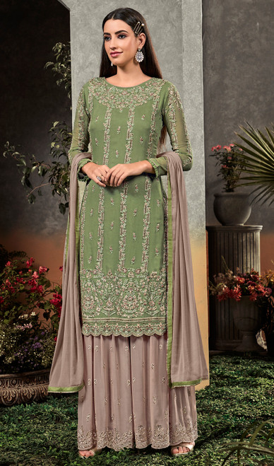 Green Color Embroidered Georgette Palazzo Dress