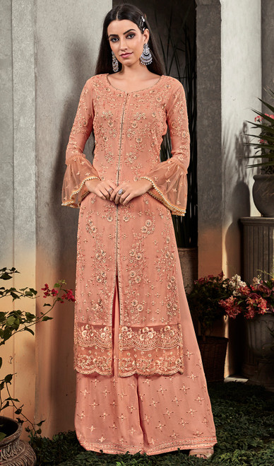 Peach Color Embroidered Georgette Palazzo Suit