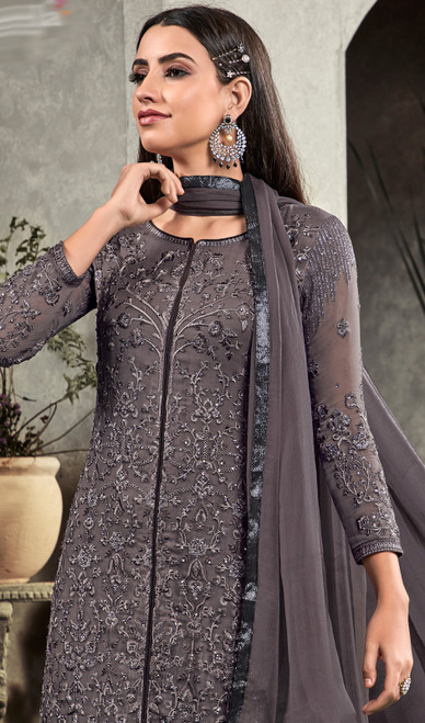 Dark Gray Color Embroidered Georgette Pant Style Suit