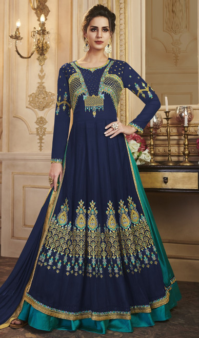 Georgette Navy Blue Color Embroidered  Anarkali Suit