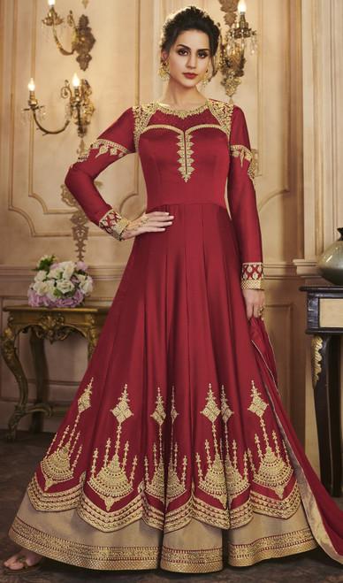 Maroon Color Silk Embroidered Anarkali Dress