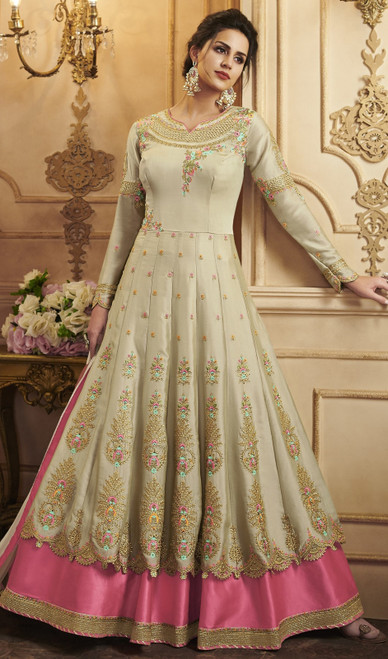 Cream Color Embroidered Silk Anarkali Suit