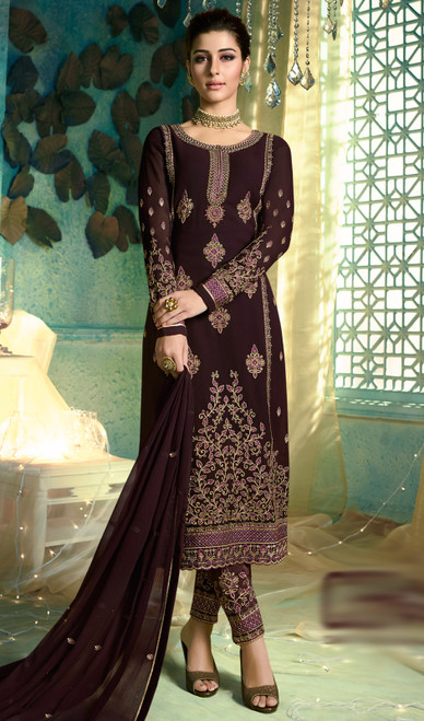 Chocolate Color Embroidered Satin Georgette Pant Style Suit