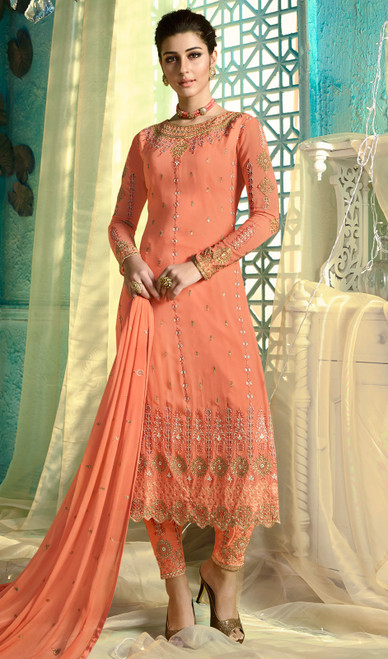Peach Color Satin Georgette Embroidered Pant Style Dress