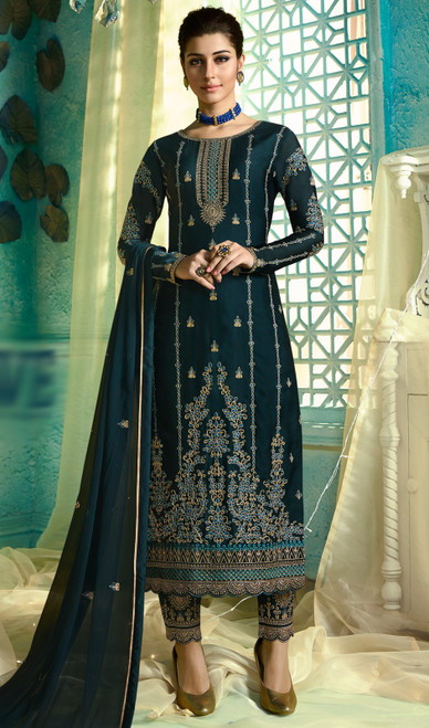 Navy Blue Color Shaded Satin Georgette Pant Style Suit