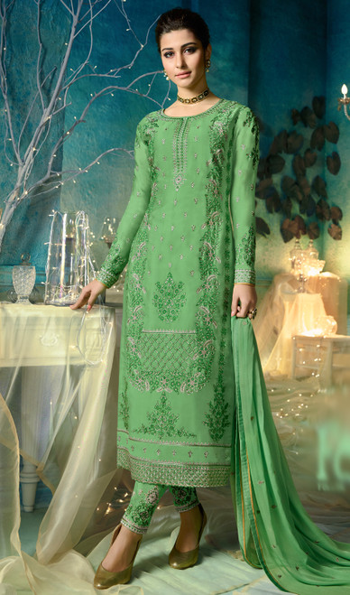 Green Color Embroidered Satin Georgette Pant Style Dress