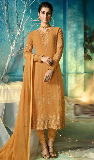 Mustard Color Shaded Satin Georgette Pant Style Suit