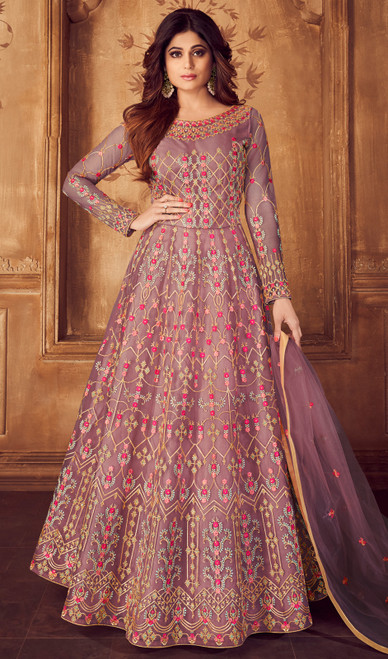 Shamita Shetty Purple Color Net Anarkali Suit