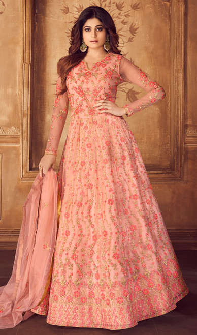 Shamita Shetty Peach Color Net Anarkali Dress