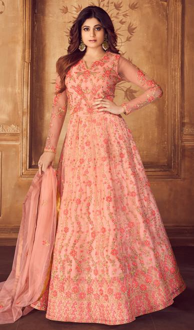 Shamita Shetty Peach Color Net Anarkali Dress