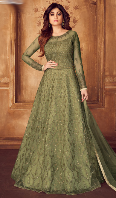 Shamita Shetty Green Color Net Embroidered Suit