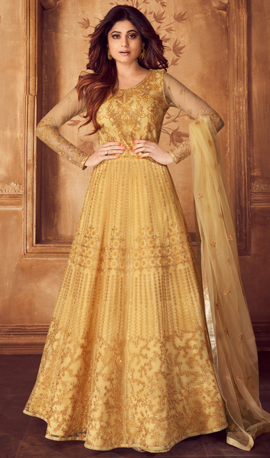 Shamita Shetty Yellow Color Embroidered Net Anarkali Suit