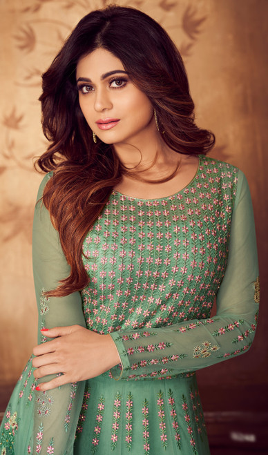 Shamita Shetty Sea Green Shaded  Color Shaded Net Anarkali Suit