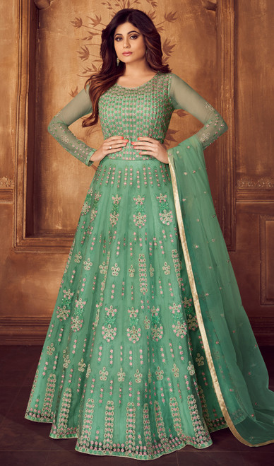 Shamita Shetty Sea Green Shaded  Color Shaded Net Anarkali Suit