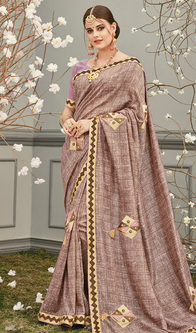 Beige Color Shaded  Embroidered Silk Sari