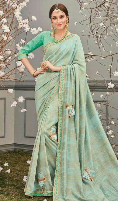 Pista Color  Silk Embroidered Sari