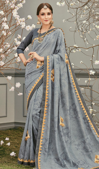 Gray Color Shaded Embroidered Silk Sari
