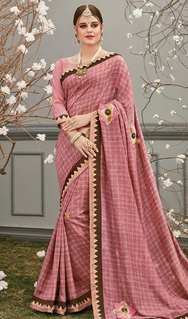 Coral Color Silk Embroidered Sari