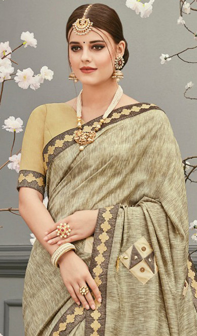 Cream Color Shaded Embroidered Silk Sari