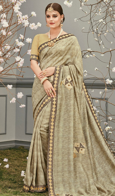 Cream Color Shaded Embroidered Silk Sari