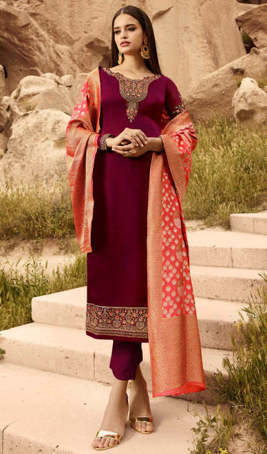 Maroon Color Satin Georgette Pant Style Suit