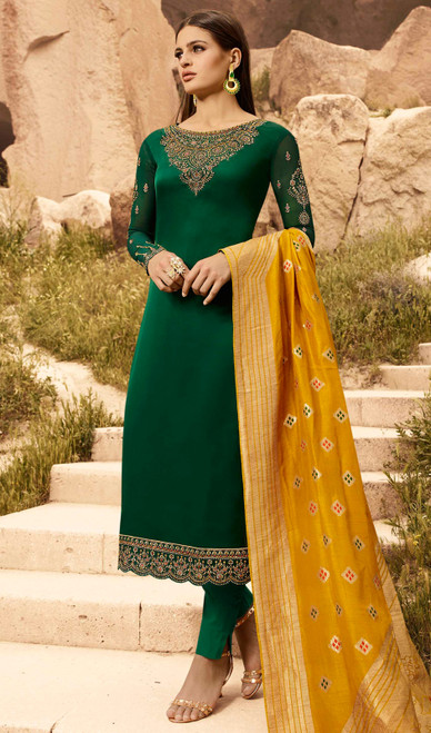 Green Color Satin Georgette Pant Style Dress