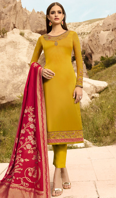 Yellow Color Satin Georgette Pant Style Dress