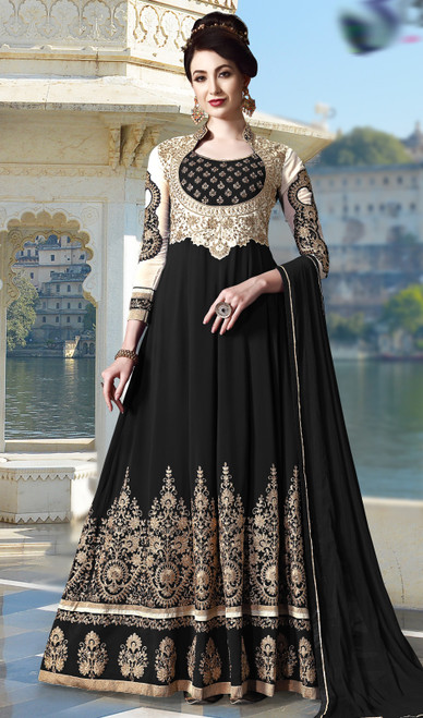 Black Color Embroidered Pure  Georgette Anarkali Suit