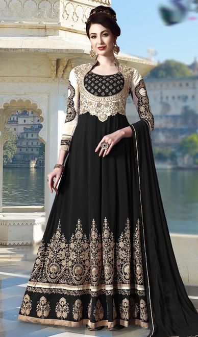 Black Color Embroidered Pure  Georgette Anarkali Suit
