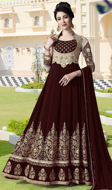 Maroon Color Pure Georgette Embroidered Anarkali Dress