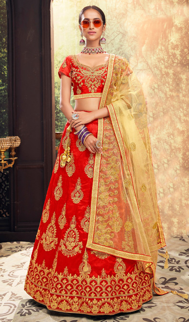Red Color Embroidered Silk Lehenga Choli