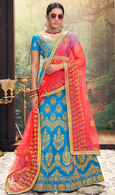 Sky Blue Color Embroidered Silk Lahenga Choli