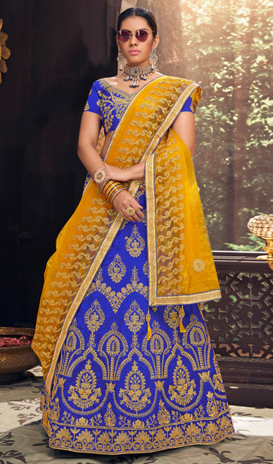 Blue Color Silk Embroidered Lehenga Cholie