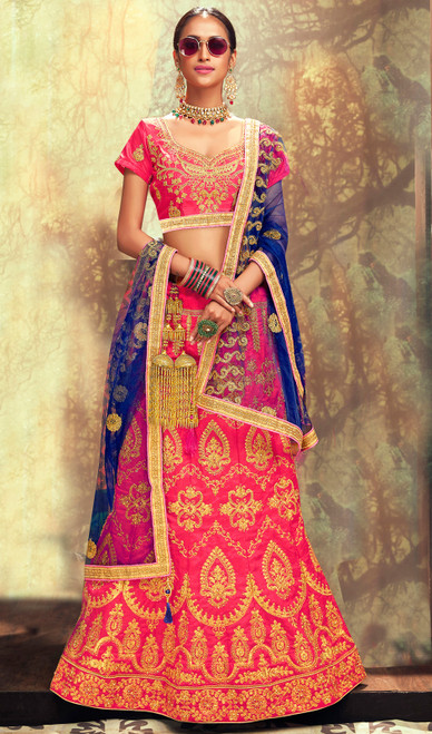 Salmon Color Shaded Silk Embroidered Lahenga Cholie