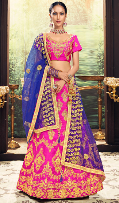 Lehenga Choli, Silk Fabric in Pink Color Shaded