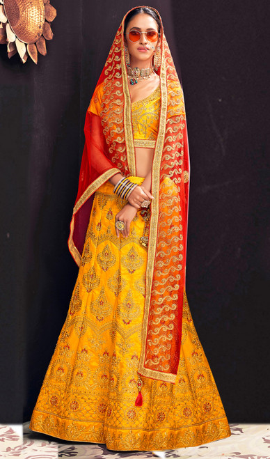 Silk Embroidered Yellow Color Choli Skirt