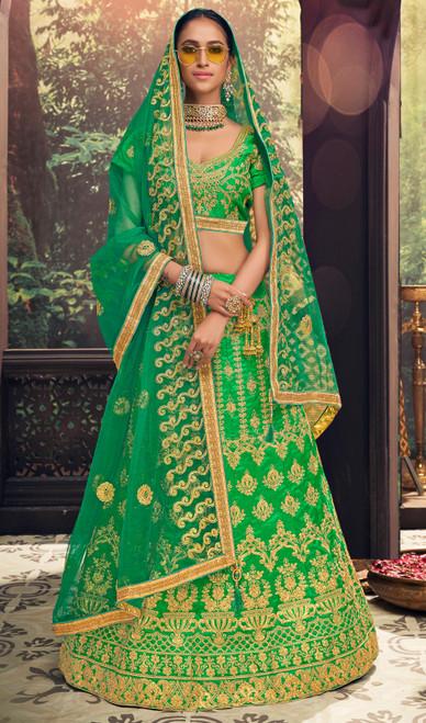 Embroidered Silk Green Color Choli Skirt