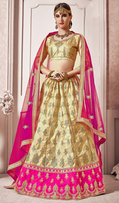 Beige Color Silk Embroidered Choli Skirt
