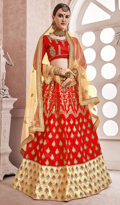 Red Color Embroidered Silk Cholie Skirt