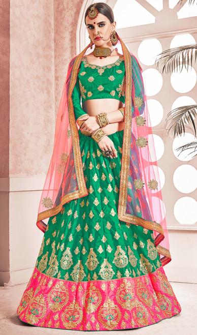 Green Color Silk Embroidered Lahenga Cholie