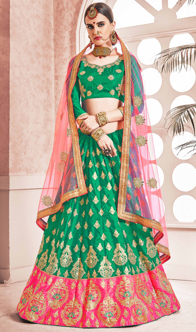 Green Color Silk Embroidered Lahenga Cholie