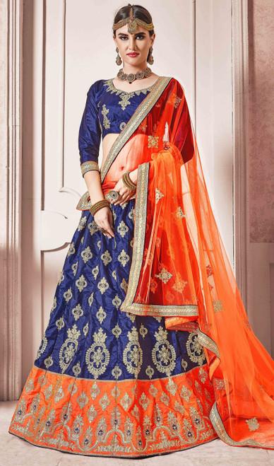 Blue and Orange Color Shaded Silk Lehenga Choli