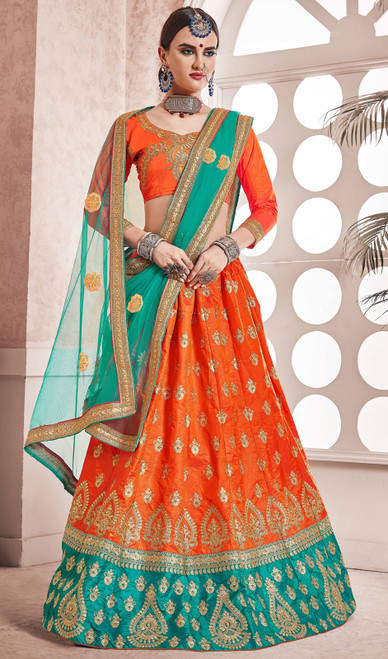 Lehenga Choli in Orange and Green Color Shaded Silk