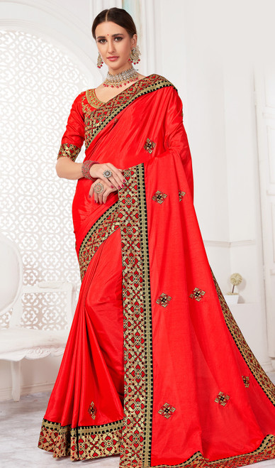 Salmon Color Embroidered Silk Sari