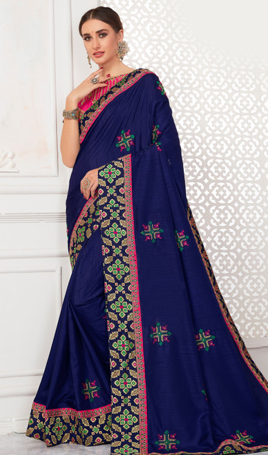 Silk Embroidered Navy Blue Color Sari