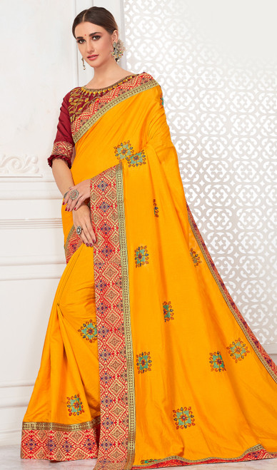 Embroidered Silk Sari in Yellow Color