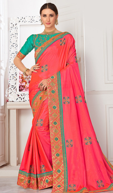 Embroidered Peach Color Silk Sari