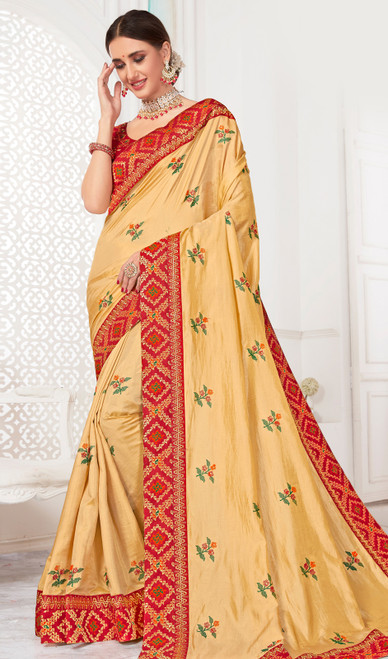 Cream Color Embroidered Silk Sari