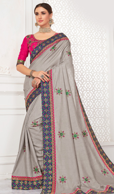 Silk Embroidered Gray Color Sari